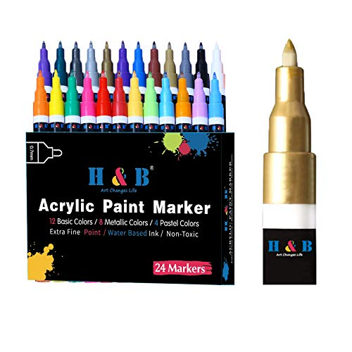 24 Colors Acrylic Paint Marker Pens Set for Rock Painting, Wood, Fabric, Mug, Ceramic, Canvas, Stone, Glass, Craft Supplies, Extra Fine Tip, Water Based, Non Toxic, Quick Dry, Include Metallic Markers