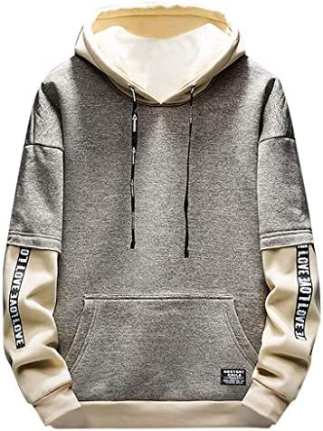 Black A, 2XL KFSO Mens Novelty Color Block Striped Drawstring Hoodies Cozy Sport Outwear