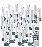 Lunartec Kabellose Baumkerzen: 30er-Set LED-Weihnachtsbaumkerzen mit Fernbedienung und Timer, Silber (Christbaumkerzen kabellos)