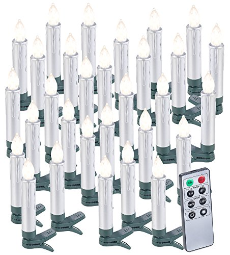 Lunartec Christbaumkerzen LED: 30er-Set LED-Weihnachtsbaumkerzen mit Fernbedienung und Timer, Silber (LED-Weihnachtsbaumkerzen kabellos)