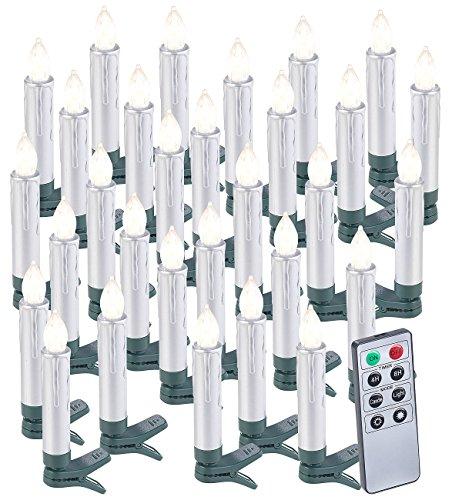 Lunartec LED Christbaumkerzen: 30er-Set LED-Weihnachtsbaumkerzen mit Fernbedienung und Timer, Silber (Kabellose Christbaumkerzen)
