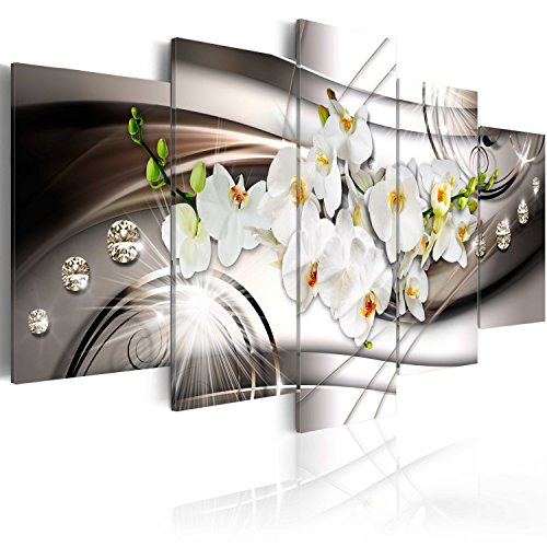 murando Acrylglasbild Abstrakt 100x50 cm 5 Teilig Wandbild auf Acryl Glas Bilder Kunstdruck Moderne Wanddekoration - Blumen Orchidee Diamant b-A-0238-k-n