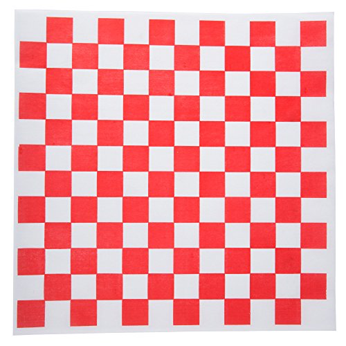Checkered Deli Basket Liner, 12 X 12 Inches, Red and White