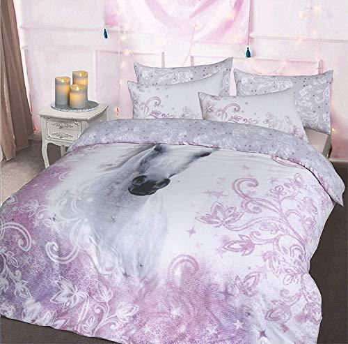 Sleepdown Photographic Animal Print Duvet Quilt Cover Unique Reverse Design Bedding Set With Pillowcase(Pretty Unicorn Double)