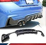 JC SPORTLINE fits BMW 4 Series F32 F33 F36 435i 420i 440i M-Sport 2-Door 4-Door 2013-2018 Carbon Fiber Rear Diffuser Bumper Cover Lip (Quad Exhaust Twin Outlet)