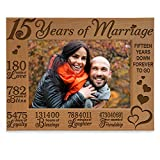 KATE POSH - Our 15th Anniversary Engraved Natural Wood Picture Frame - 15 Years of Marriage 2005 Through 2020, Fifteen Years Together, Wedding for Husband & Wife (5x7 Horizontal)
