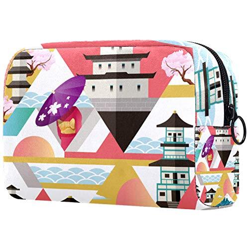 Bolsa de maquillaje pequeña de 19 x 7 x 13 cm para viajes a Japón de PVC, brochas de maquillaje, bolsas de viaje para cosméticos