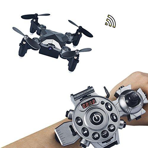 Joso RC Drone, Mini Quadcopter Reloj Estilo Mando a Distancia Plegable Drone con 4 Axis FPV Cámara 0.3MP Aerial Photography/Altitude Hold/Auto Return y transmisión en Tiempo Real