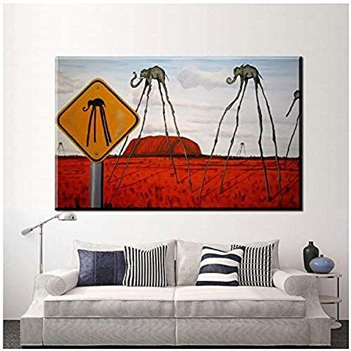 Canvas print,Salvador Dali Surrealisme Canvaskunst Schilderij Poster Muur Foto Woonkamer Thuis Decoratieve Muur Decor-60x80cm