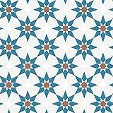 Tempaper Terracotta & Blue Soleil   Designer Removable Peel and Stick Wallpaper