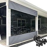 XFLOFE All'aperto Tenda con Telo Trasparente Pannello Resistente alle Intemperie Terrazza All'aperto Tenda in Vinile - con Occhielli Antiruggine - for Pergola, Portico, Gazebo