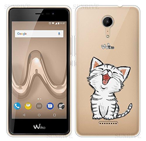 Sunrive Coque pour Wiko Tommy 2 Silicone Étui Housse Protecteur Souple TPU Gel Transparent Back Case(TPU Chat 2)+ Stylet OFFERTS