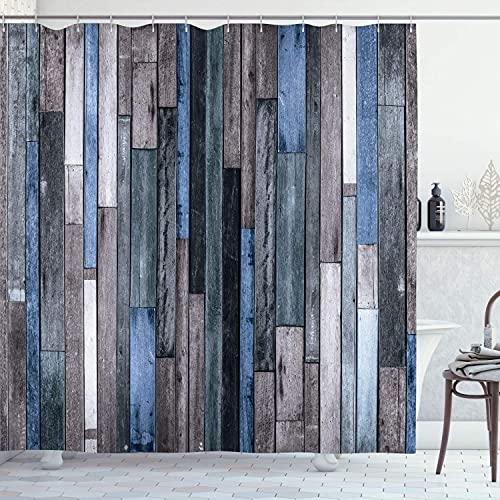 N \ A Cortina de ducha de madera, color marrón viejo piso de madera dura Grunge Lodge Garage Loft impresión gráfica rural natural, tela de tela para baño con ganchos, 60 x 72 pulgadas, marrón