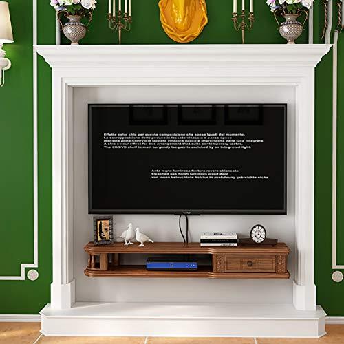 TriGold Schwimmende Fernseh Regale Holz,wandhalterung Regale Fernsehschrank Modernen Medienkonsole Für WiFi Router Set-top Box Wandhängen Rack Walnuss 80x24x17cm(31x9x7inch)