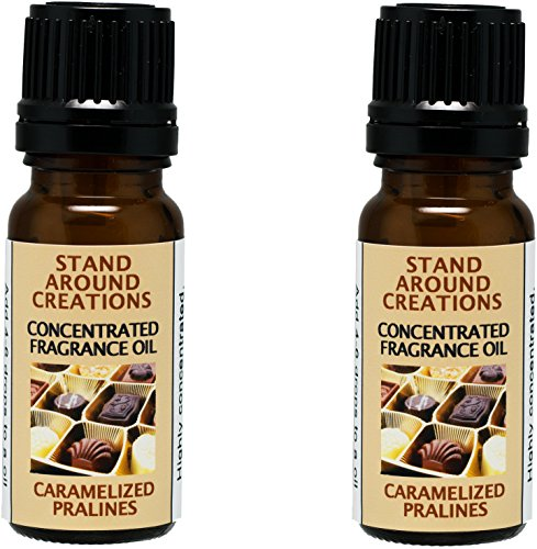 Set of 2 - Concentrated Fragrance Oil - Caramelized Pralines: An irresistible blend of sweet warm vanilla caramel, dark brown sugar w/butter-drenched pecans.Infused w/essential oils.(.33 fl.oz.)