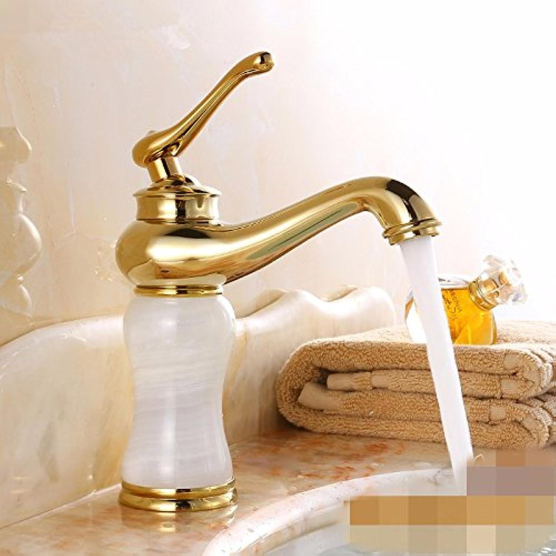 LHbox Bad Armatur in Bad für Waschbecken Waschtisch Wasserhahn Waschtischarmatur der Goldene Hahn Becken aus Bronze groe Warme und Kalte Jade Badezimmer,