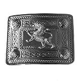 Tartanista Hebilla de cinturón para kilt escocés - Diseño celta con león rampante - Cromo
