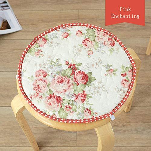QIANBAOBAO ronde stoel van katoenen linnen, zitkussen voor kinderen, antislip, haken voor het sluiten, schattig rond kussen, 4-pink-Enchantret_About30 cm, 32 cm