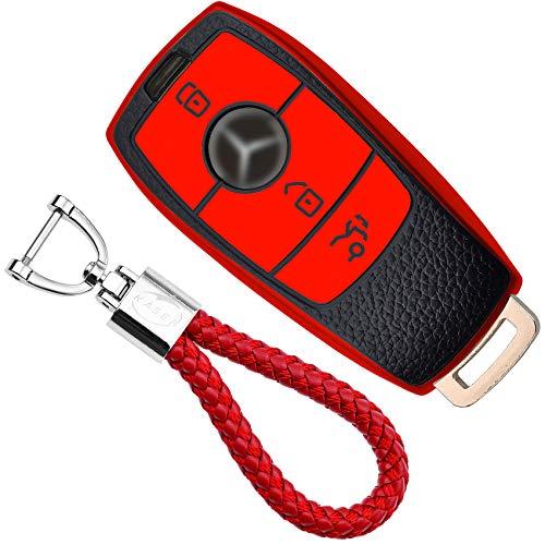 KASER Funda Carcasa Llave Coche Silicona TPU Compatible para Mercedes Classe A B C E CLA CLE GLA GLA GLE GLS Cover Llaveros Efecto Piel Protección Mando de Coche (Rojo)