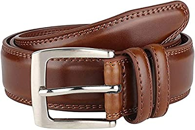 "Men's Genuine Leather Belt Classic Dress""ALL Leather"" 35mm Tan (42)"