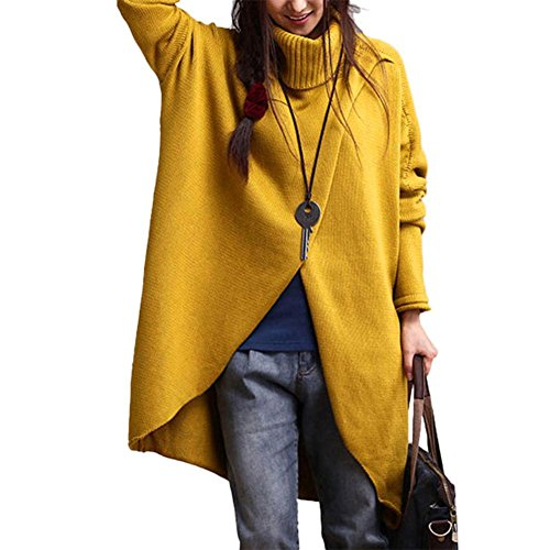 Kolylong® Sweatshirt Damen Frauen Elegant Turtleneck Asymmetrische Langarm Pullover Herbst Winter Warm Sweatshirt Loose Bluse Mode Mantel Outwear T-Shirt Hemd Tops (L, Gelb)