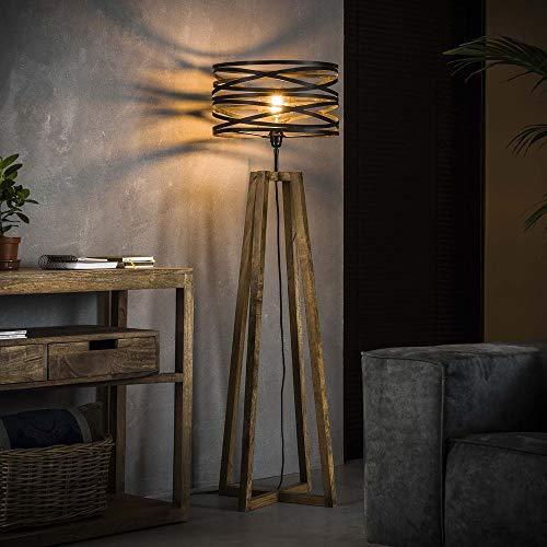 famlights Stehleuchte Colin aus Holz und Metall in Schiefer-Grau und Braun, 1x E27, Vintage  Stehlampe für Wohnzimmer,...