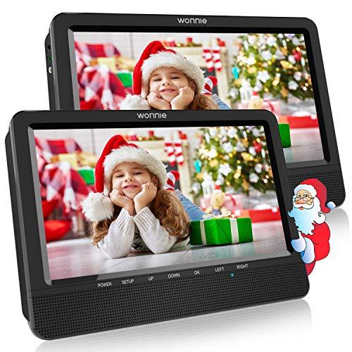 """WONNIE 10,5\"""" Tragbare Auto 2 Monitore DVD Player 4 Stunden Kopfstütze Monitor Fernseher 1024 * 600 Bildschirme, Unterstützung USB/SD/AV IN&Out (1Host +1 Slave)"""
