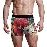 Personalisierte Herren Unterwäsche Geschenkkoffer Stretchy Soft Boxer Slips Shorts bequem ausgestattet Rote Amaryllis-Blumen - XXL