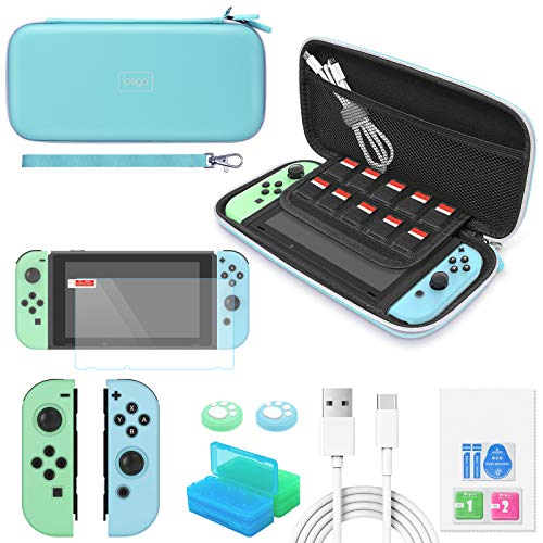 Switch Accessories Bundle - YUANHOT Essential Kit for Nintendo Switch Animal Crossing Edition with Carrying Storage Case, Screen Protector, Joy-Con Protective Cover, Games Holder & Thumb Caps– Blue