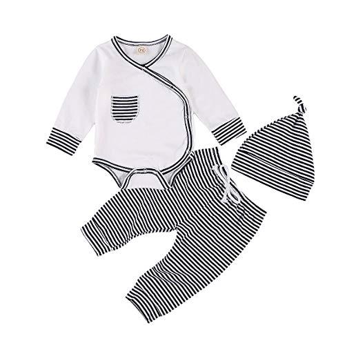 Newborn Baby Boy Girl Pajamas Romper Long Sleeve Kimono Side Snap Bodysuit Footie Pants Hats Fall Winter Clothes Set (Striped - Navy Blue, 0-6 Months)
