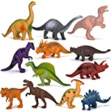 Kids Dinosaur Figures Toys, 7 Inch Jumbo Plastic Dinosaur Playset, STEM Educational Realistic Dinosaur Figurine for Boys Girls Toddlers Including T-Rex, Stegosaurus, Triceratops, Monoclonius, 12 Pack