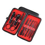 NailGlam Juego de pedicuras de manicura, cortadoras de uñas Kit de herramientas de acero inoxidable Kit de herramientas con caja de cuero para la PU-rojo_10 sets