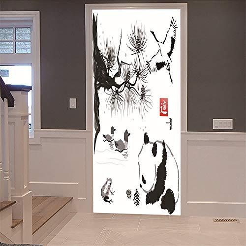3D-sticker voor de deur, met rubber, 77 x 200 cm, watervaste kleur, afneembaar, decoratief, voor badkamer, woonkamer, slaapkamer, decoratie