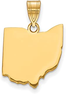 14k Yellow Gold Oh State Pendant Charm Necklace Bail Only Travel Transportation Fine Jewelry Gifts For Women For Her