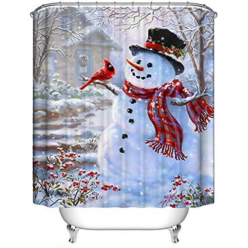 Weihnachts-Duschvorhang, Winterurlaub Frohe Weihnachten Happy Snowman & Cardinals wasserdichte Polyester Duschvorhang mit Haken für Weihnachtsdekoration, 153cm x 175cm