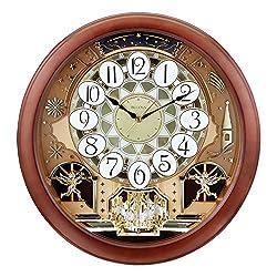Bulova Dancing Tune Strike & Chime Wall Clock, Brown Cherry
