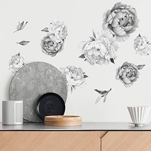 Peony Watercolor Wall Decals Black and White Watercolor  Peony Decor Flowers Wall Decals