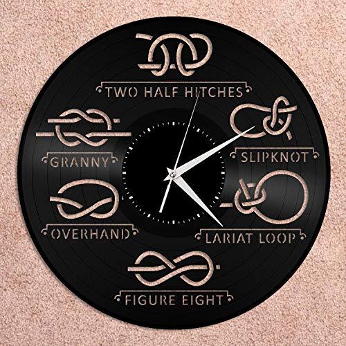 Reloj de pared de vinilo con nudo náutico para decoración del hogar, diseño vintage, oficina, bar, decoración del hogar