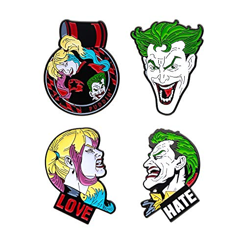 DC Comics Unisex Erwachsene Joker und Harley Quinn Gesicht Emaille Reversnadel Set (4 Stück), mehrfarbig, Einheitsgröße