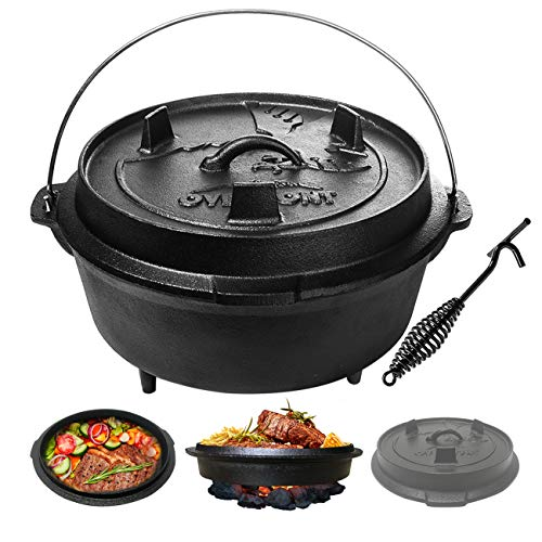Overmont Camp Double Dutch Oven 8QT(Pot+ Lid) All-round Cast Iron Casserole Pot Dual Function Lid Skillet Pre Seasoned with Lid Lifter Handle for Camping Cooking BBQ Baking