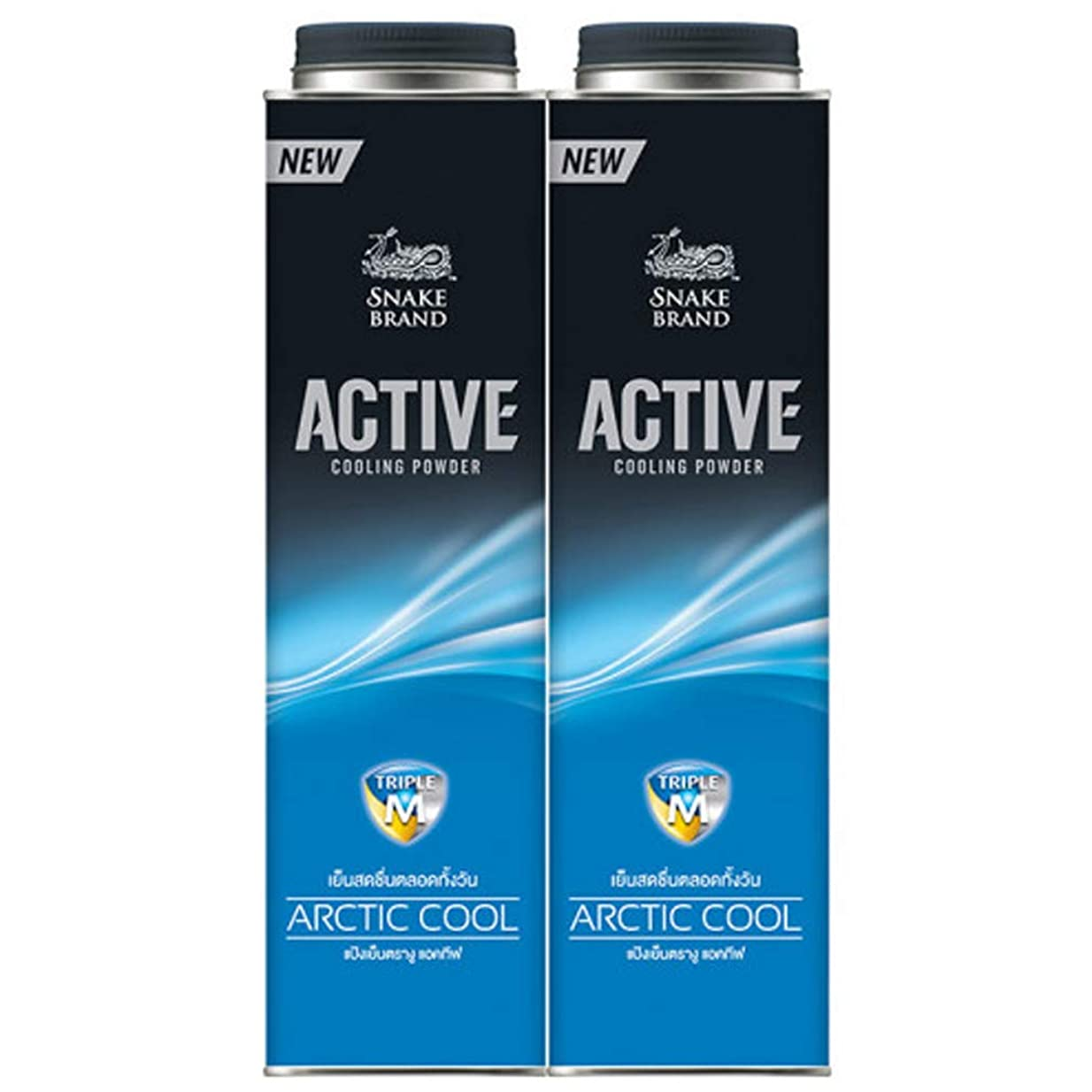 絶え間ない送ったデンプシー(sune-kuburando) SNAKE BRAND COOLING POWDER ACTIVE ARCTIC COOL BLUE COLOR 280 G PACK 2