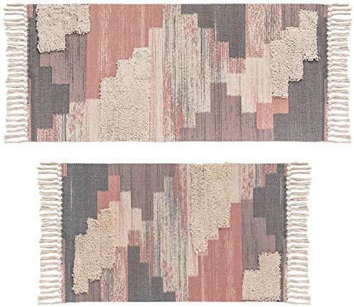 SHACOS 2er Set Teppich Baumwolle Waschbar Gewebt Teppich Vintage Grau Baumwollteppich Flur Teppich für Wohnzimmer Eingang Badezimmer 60x90cm+60x130cm