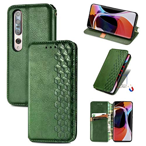 ZXL Xiaomi Mi 10 Flip Case,3D Bling Retro Book Style Wallet Case Card Slots Kickstand Phone Case with Magnetic Protective Cover for Xiaomi Mi 10 Green