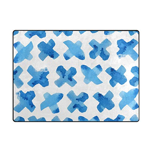MALPLENA Blue Cross Zone Tapis antidérapant Pad Moyen d'entrée Paillasson Tapis de Sol Chaussures Grattoir, Polyester, 1, 63 x 48 inch
