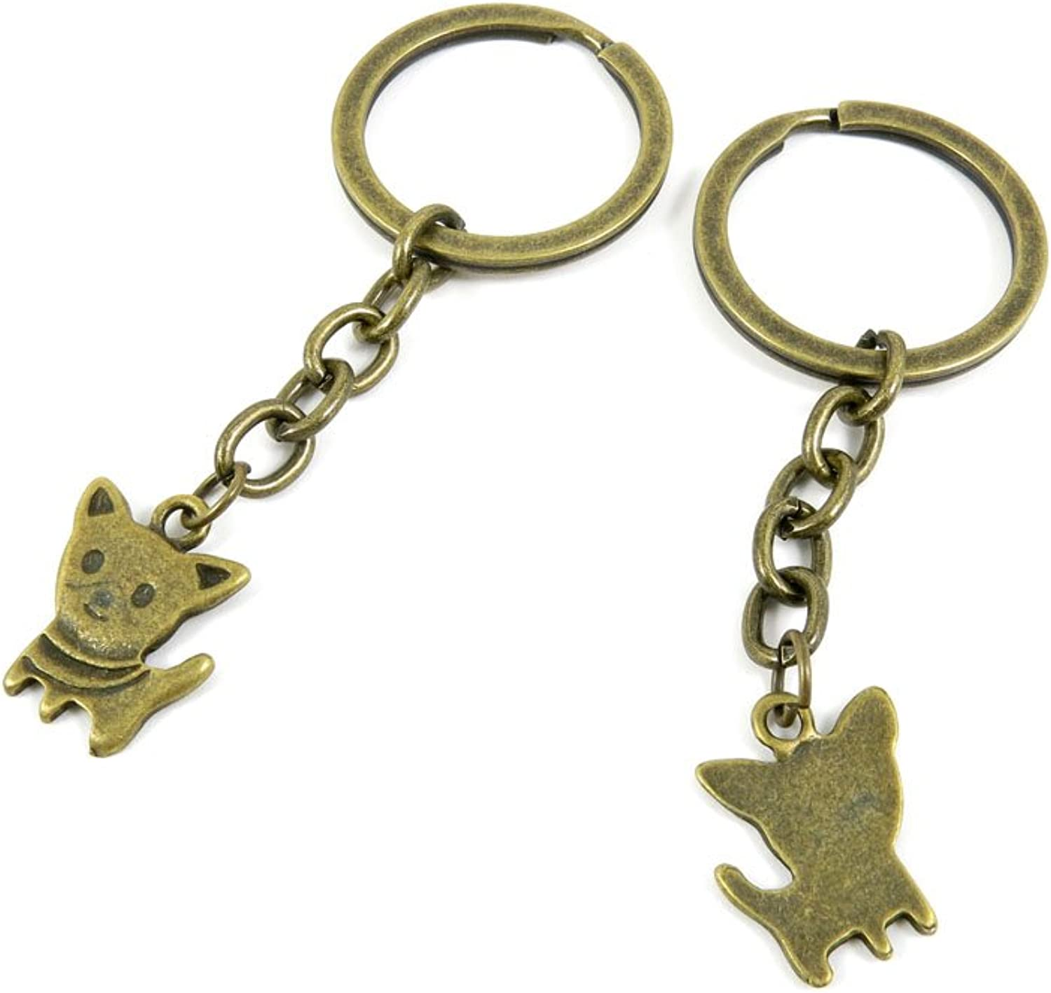 100 PCS Keyrings Keychains Key Ring Chains Tags Jewelry Findings Clasps Buckles Supplies X2CX3 Puppy Dog