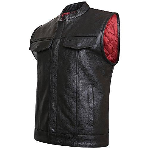 SOA - Chaleco de piel auténtica para hombre (2XL) color negro