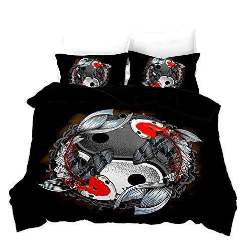 BLZQA Bedding Set 3D Koi Tai Chi Textile Design Decorative 3 Pieces Bedding Set with 1 Duvet Cover 2 Pillowcase King (78.7 x 78.7 inches)