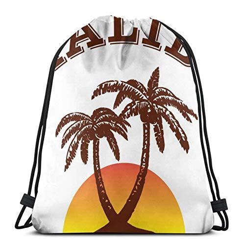 ewretery Malibu Ron - Mochila con cordón unisex con cordón, bolsa de deporte, bolsa grande con cordón, mochila de gimnasio a granel