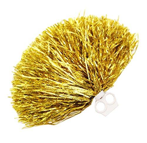 Black Temptation 2 Stück Metallfolie & Kunststoff-Ring Pom Poms Cheerleading, Gold