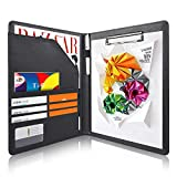 AHGXG Padfolio/Resume Portfolio Folder - Interview/Letter Document Organizer & Business Card Holder - with Letter-Sized Writing Pad Professional Gift for Business, Interview, Resume - Black